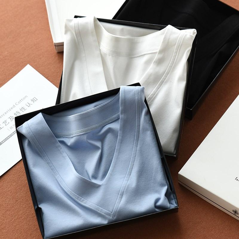 女士V领70支双面丝光精梳棉长袖T恤 显瘦全棉小白t 春季新款打底