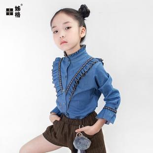 女童牛仔衬衫2019新款春季中大童荷中边立领纯棉衬衣复古儿童上衣
