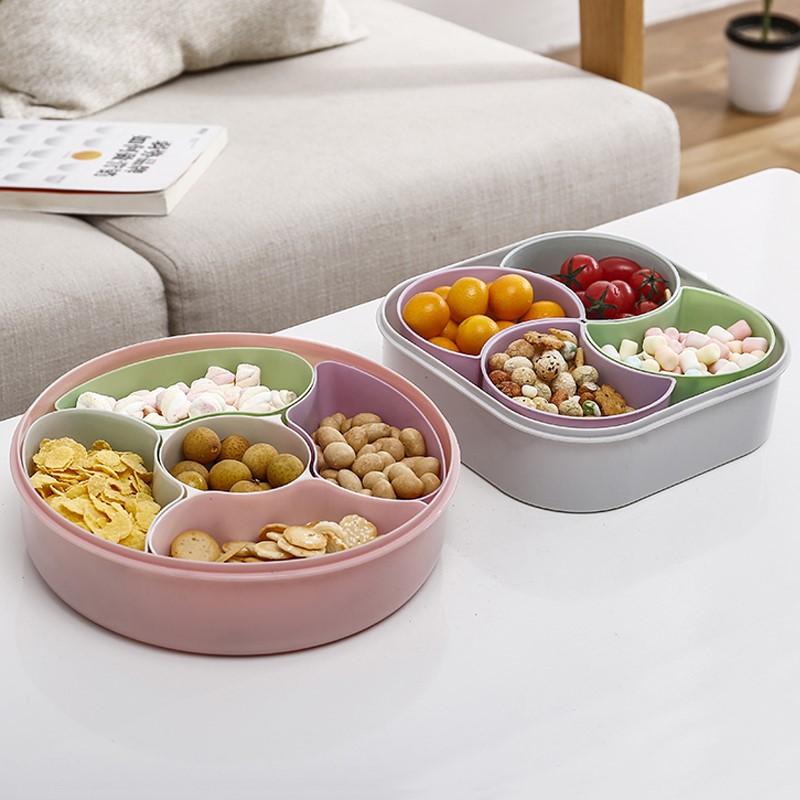 大容量干果盘家用水果盘分格带盖糖果盒塑料瓜子盘夜市摆摊试吃盒