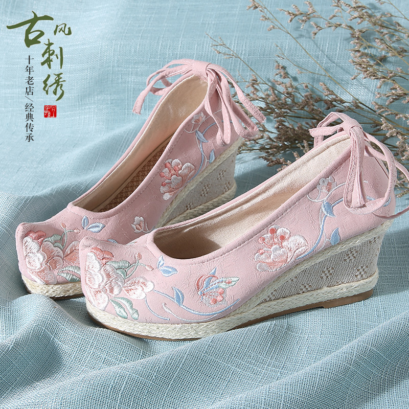 北京 布鞋 汉服 鞋子 绣花鞋 古风 高跟鞋 古装 增高 弓鞋