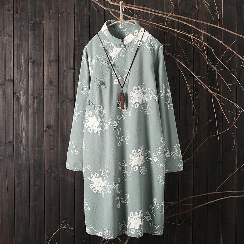 原创 春季 新款 裙子 复古 斜襟 提花 连衣裙