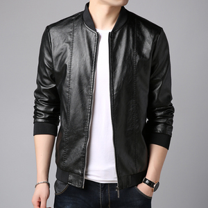 2019 new leather men's winter baseball stand-up collar Slim Korean trend coat motorcycle pu leather jacket men's clothing