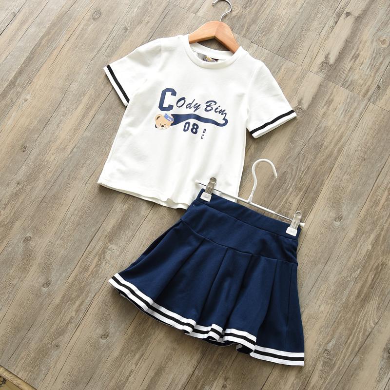 学院风 女童短袖T恤+短裙2017新款夏 童装两件套 中大童女童套装