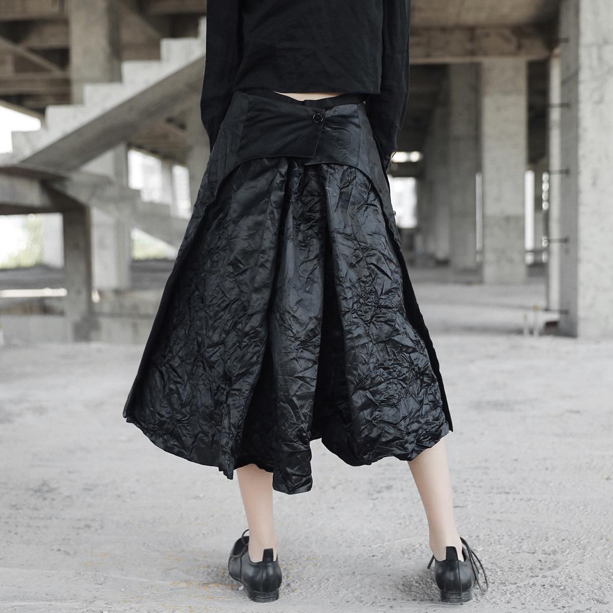 SIMPLE BLACK 秋冬暗黑ED先锋褶皱中长款不规则半身小黑裙蓬蓬裙