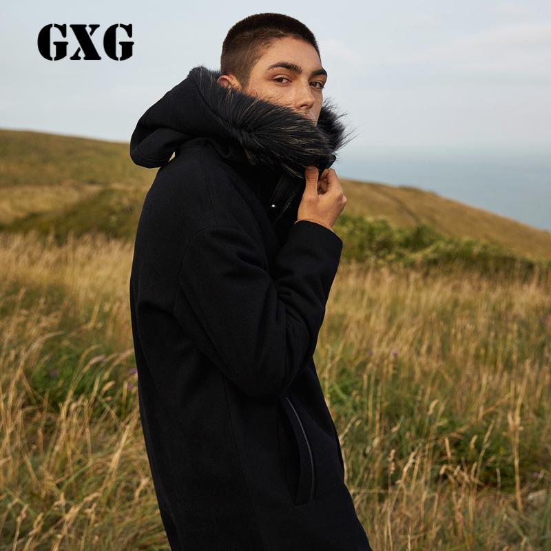 GXG男装 冬季宽松版中长款可拆卸毛领羊毛呢大衣外套男#174826165