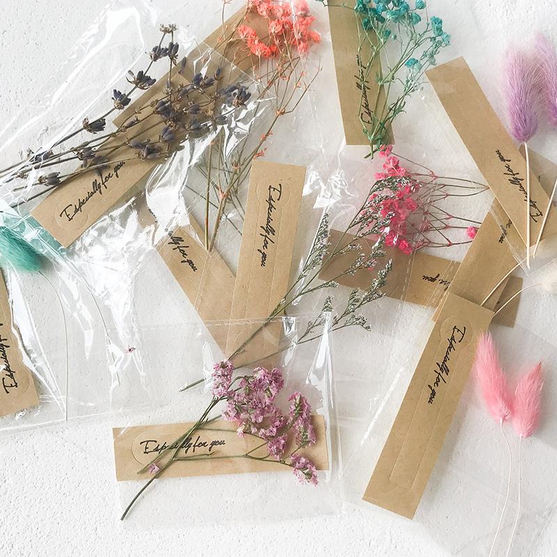 日式干花素材包礼品袋礼品盒贺卡装饰配件满天星麻绳装饰贴