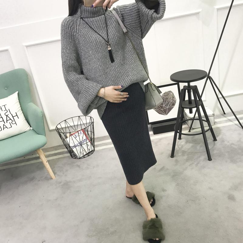 2017新款孕妇秋装半身裙中长款针织开叉裙包臀裙秋冬季加厚毛线裙