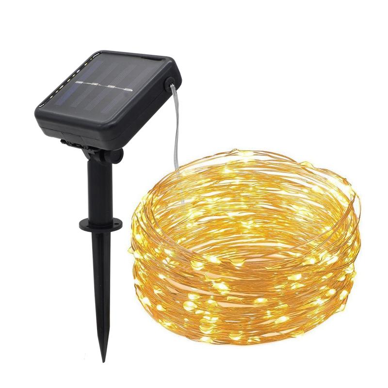 太阳能铜线灯串户外防水圣诞灯100LED节日装饰灯酒吧阳台室外彩灯