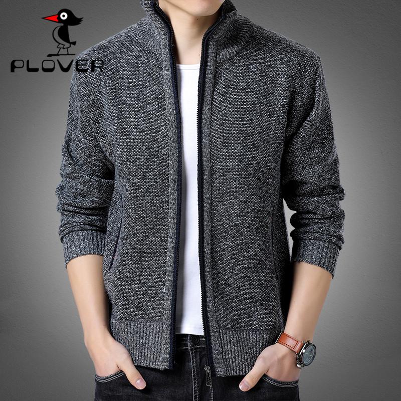【啄木鸟】秋冬季潮流男士开衫立领针织衫修身加绒加厚毛衣外套男