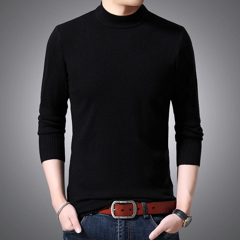 啄木鸟冬季男保暖士长袖毛衣男修身半高领韩版线衫男装打底羊毛衫