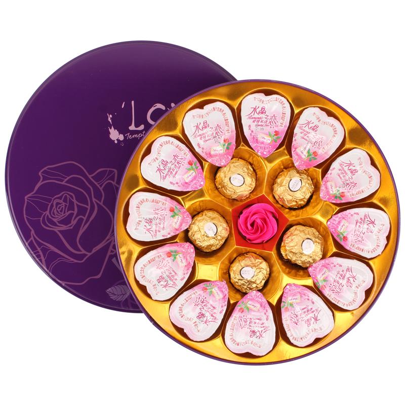 12颗喜之郎水晶之恋果冻 进口费列罗巧克力礼盒 女友生日创意礼物