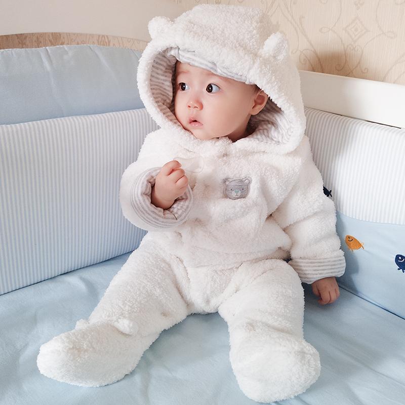 婴儿衣服可爱超萌秋冬宝宝连体衣女夹棉加厚保暖哈衣冬季外出抱衣