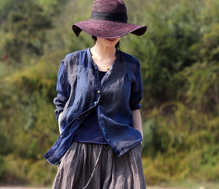 壹旧原著夏季亚麻清透凉爽暗蓝方格立领中性单排撞色纽扣空调衬衫