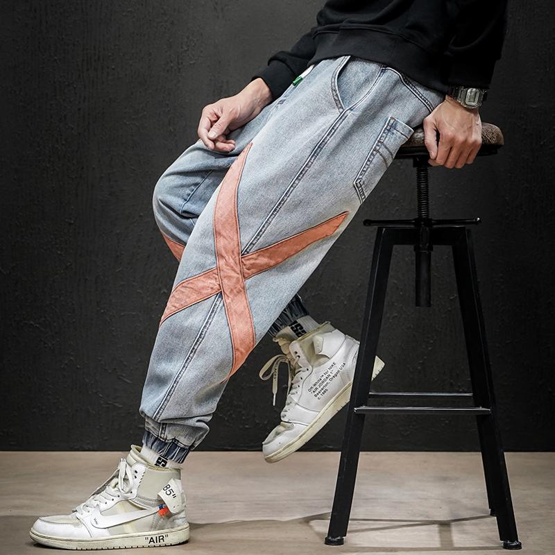 2020春季新日系黑墙大码男美式休闲交叉拼接束脚牛仔裤N8017-P55