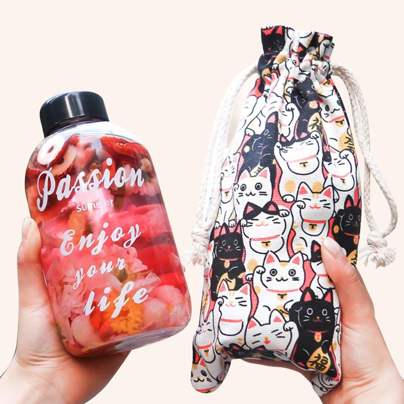 玻璃杯子创意个性潮流女学生韩国版清新网红ins可爱水杯便携夏天