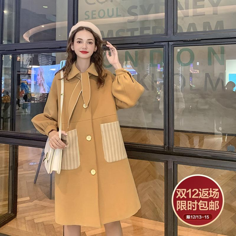 MG小象毛呢外套女2019新款秋冬韩版中长款气质时尚小个子流行大衣