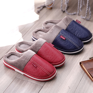 Winter couple cotton slippers men and women PU leather waterproof bag with thick bottom home indoor non-slip warm wool fur month shoes