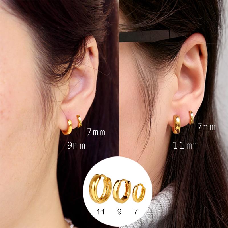镀黄金色圈圈耳环女 男圆圈款圆环形耳圈气质韩国2019新款潮耳扣