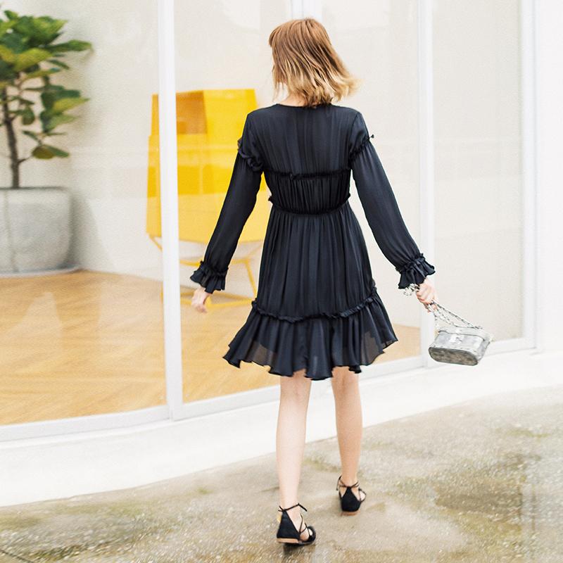 复古维多利亚风浪漫荷叶褶重工精致真丝连衣裙 HW12119