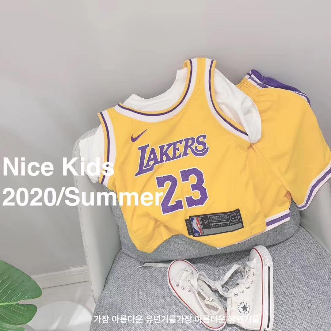 夏新款儿童两件套韩男女童短裤T恤短袖高品质篮球23运动服24湖人