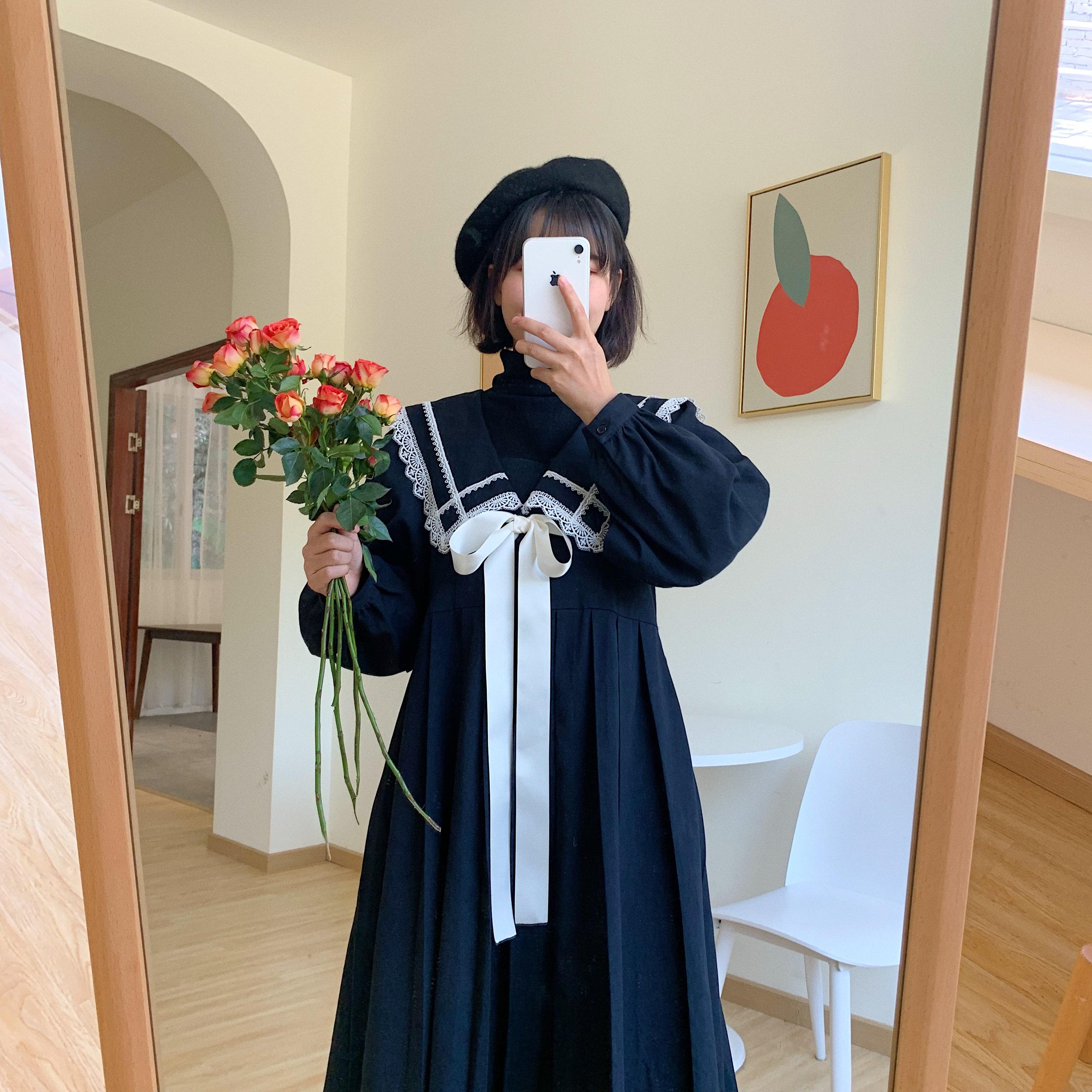 林阿俊原创自制法式复古圣诞黑色百褶蕾丝披肩领气质优雅连衣裙
