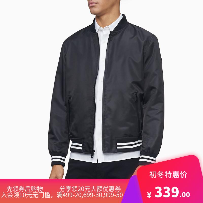 Calvin Klein/CK男士肩LOGO棒球服立领拉链夹克休闲外套潮流男装