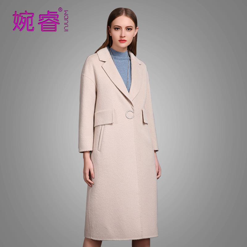 阿尔巴卡羊驼绒大衣女婉睿2017新款长款大码双面羊毛女款冬装加厚
