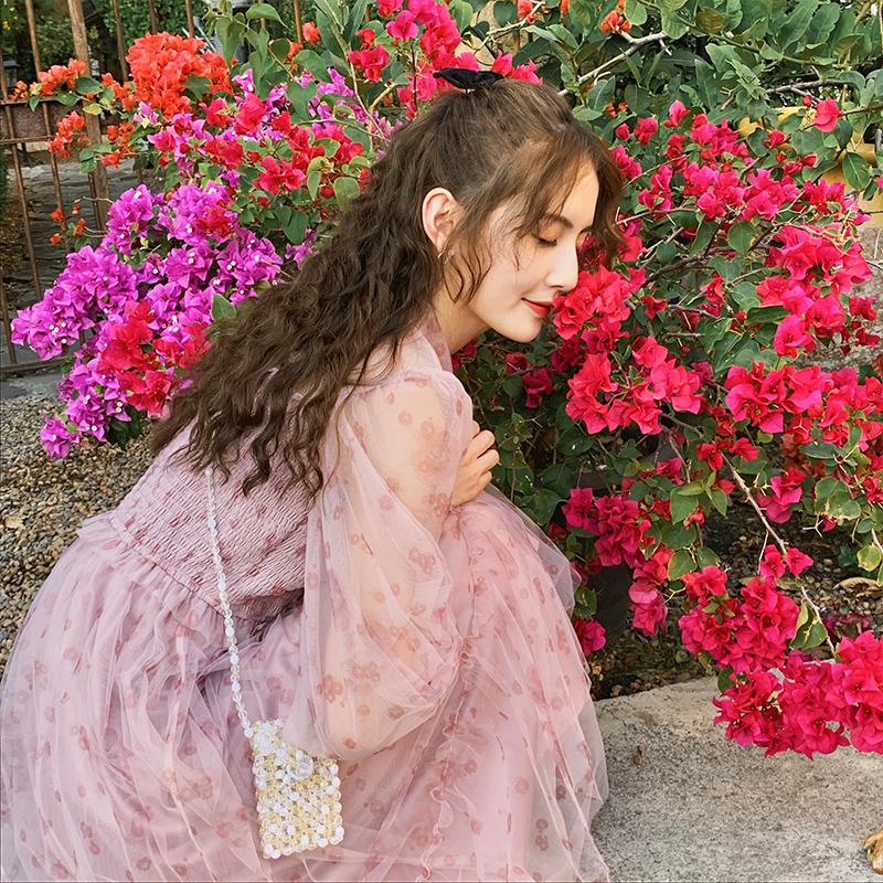 梅子熟了 文艺娃娃领印花裙网纱裙子仙女超仙森系 春装2020款女