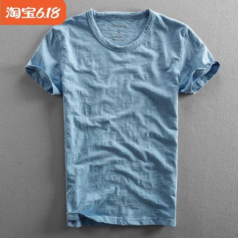 夏季新款男士纯棉T恤薄款水洗宽松竹节棉短袖圆领全棉t恤打底衫