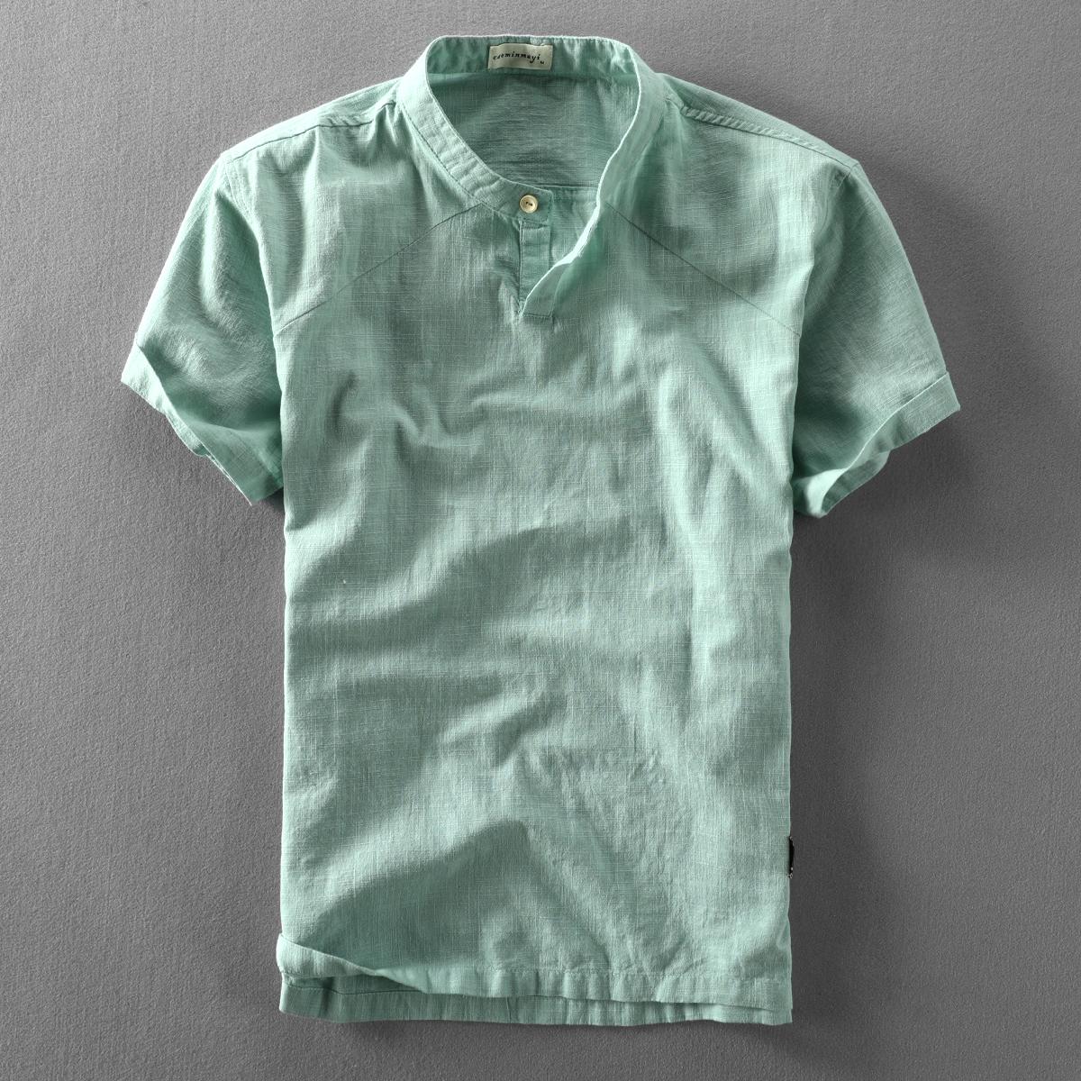 夏季新款男士休闲亚麻短袖衬衫套头立领棉麻布衬衣中国风薄款上衣