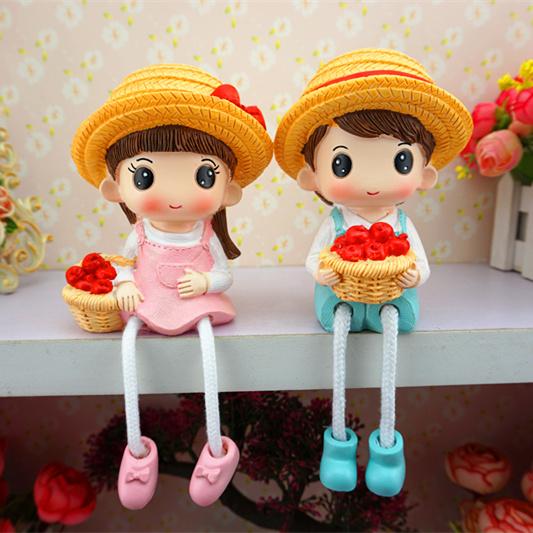 创意家居可爱吊脚娃娃饰品礼品  少女心卡通娃娃小摆设品