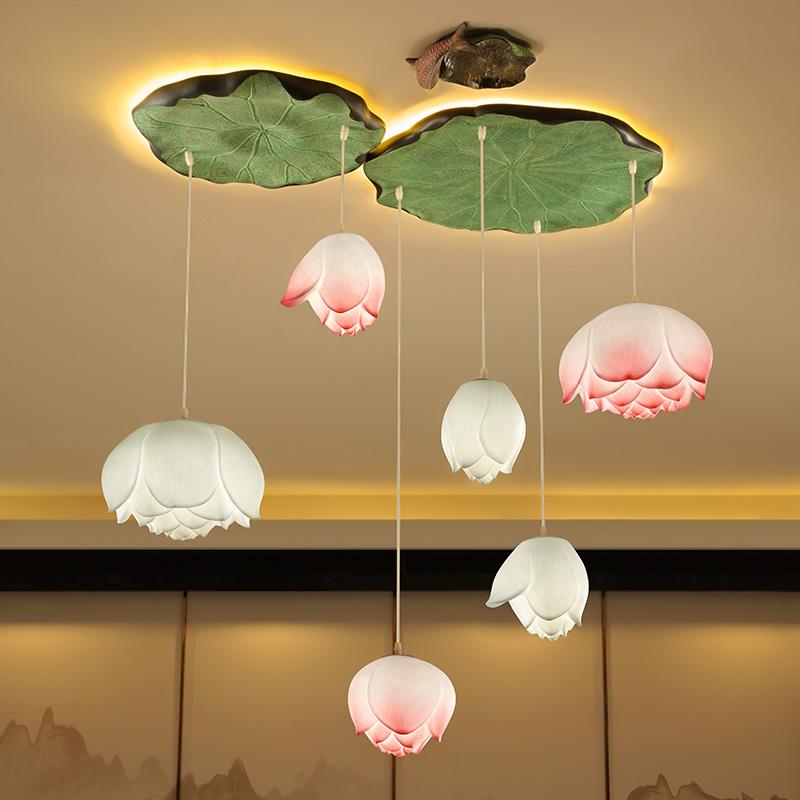 现代新中式荷花吊灯客厅餐厅卧室过道楼梯创意艺术中国风莲花吊灯-美佳居灯饰家居