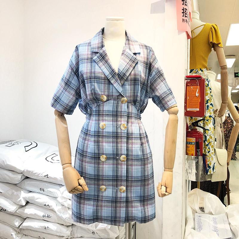 双排扣西装领短袖连衣裙夏装新款韩版宽松中长款西装式裙子女装