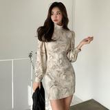 2021秋季新款韩版气质立领泡泡袖印花修身包臀连衣裙一步裙,女装连衣裙,红叶空间