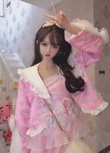 甜心公主减龄蕾丝zh5木耳边荷fu可爱(小)猫图案短外套开衫