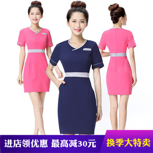 Hotel front desk club slim waiter dress technician work clothes foot bath SPA beauty clothes one-piece skirt summer