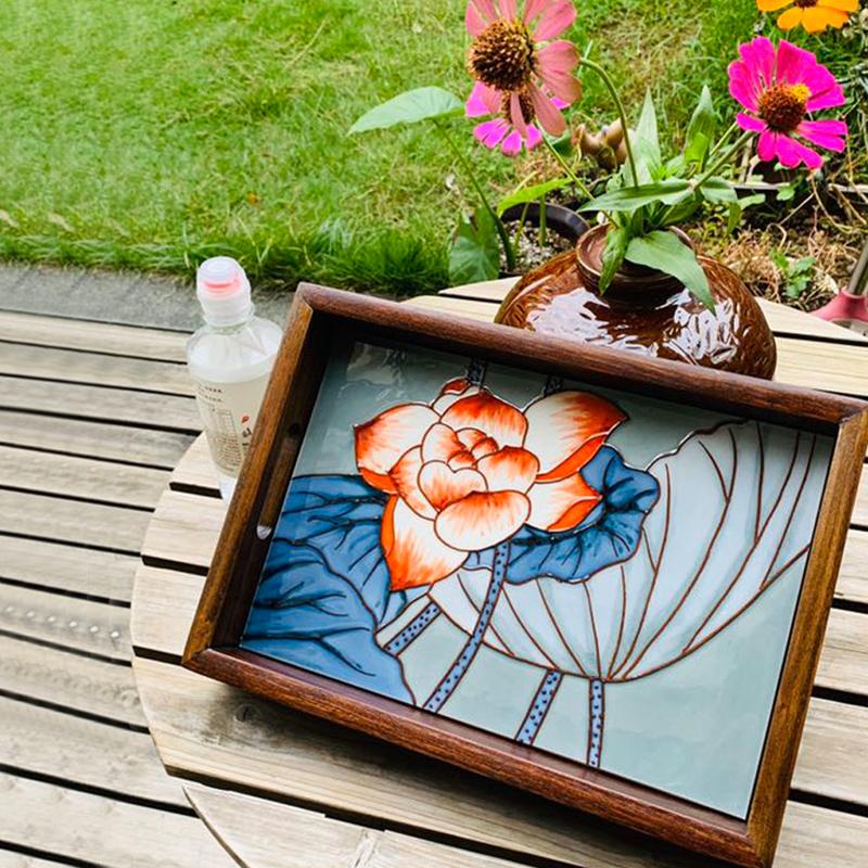 立体手绘瓷板画托盘茶具茶盘挂画无框画摆件家饰欧式新中式长方形