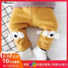 婴儿男宝宝冬季加绒加厚裤子外穿女婴幼儿开档保暖0一1岁大屁屁裤