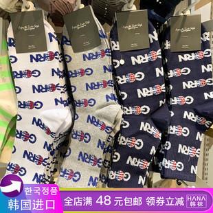 韩国东大门代购ggorangnae字母运动时尚中筒简约男棉袜子春夏款