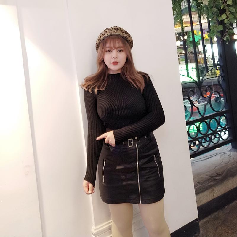 MCR大码女装秋冬针织打底衫 胖MM显瘦半高领长袖上衣套头毛衣女