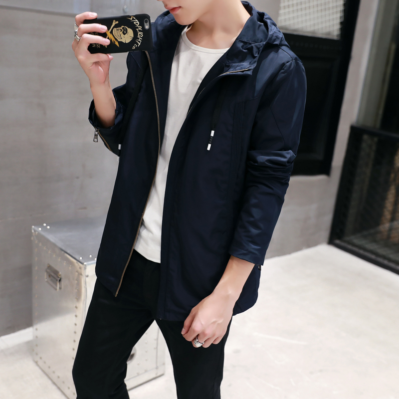 春季新款男士连帽夹克韩版青年休闲外套潮流外衣修身纯色夹克男装