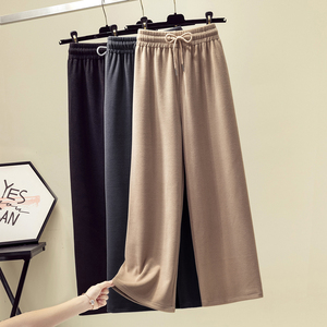 2019 autumn and winter new large size women fat sister fashion casual thickened corduroy wide leg woolen long pants tide