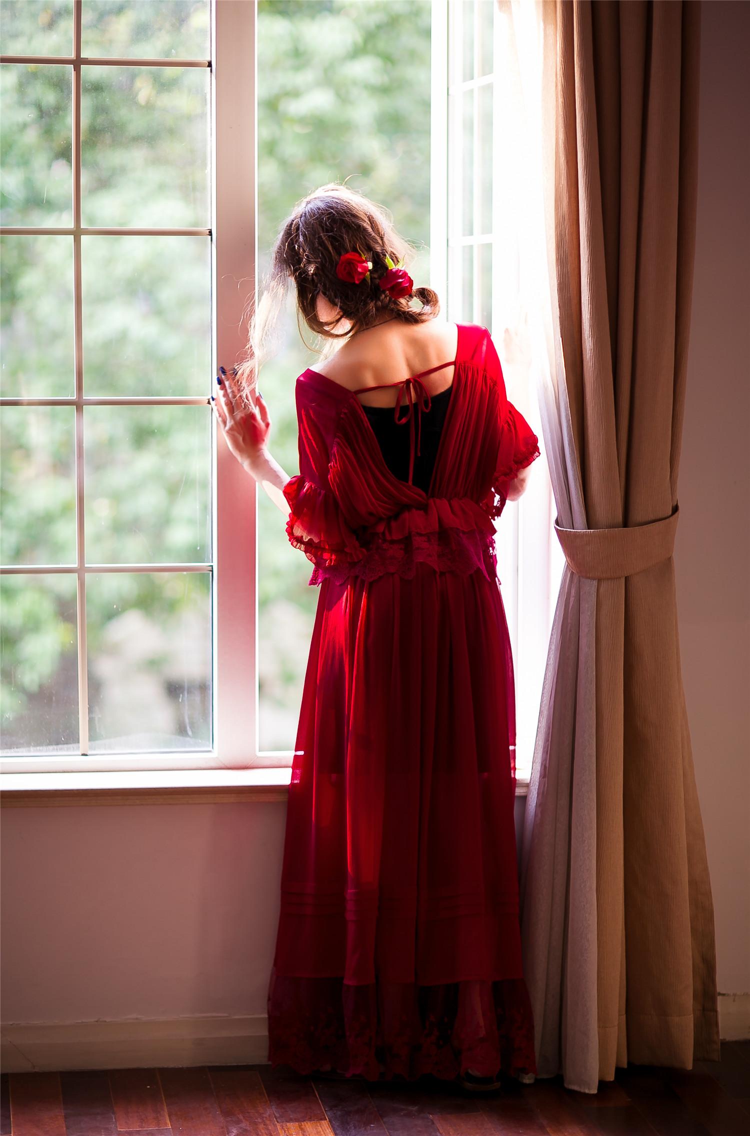 凡尔赛玫瑰丨复古重工蕾丝雪纺仙女连衣长裙丨简爱原创设计