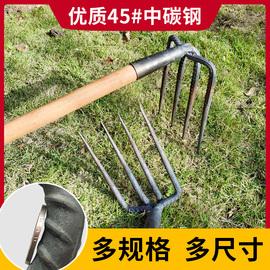 农用工具铁耙子二齿四齿三齿耙钉耙农具铁扒子钢耙翻地铁扒耙齿
