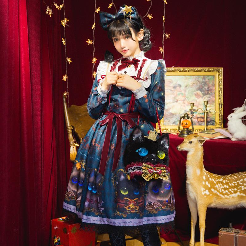 ●原创定制●恶魔猫—lolita洋服古董娃娃连衣裙复古可爱OP●三色