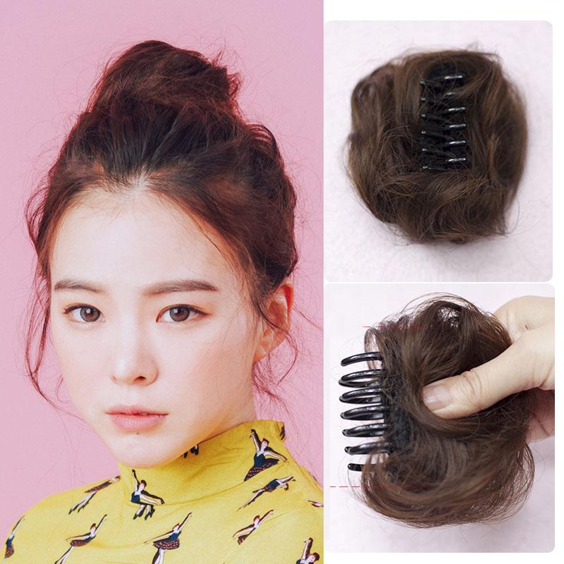 假发女生迷你小发包抓夹子发包假发圈丸子头直发包盘发花苞头假发