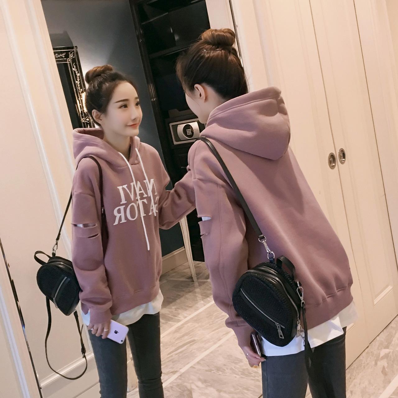 1连帽卫衣女冬季2017新款韩版假两件加绒宽松显瘦字母休闲上衣