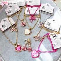 韩国进口 芭比公主水钻儿童宝宝项链耳环 女童项链生日礼品饰品