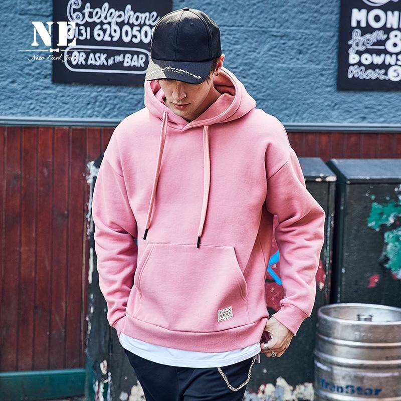 卫衣ins加绒粉色带帽衫嘻哈 假两件韩版潮学[淘宝集市]