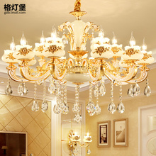 Jade crystal chandeliers European style living room chandelier luxury villa duplex floor zinc alloy bedroom dining room lighting lamps